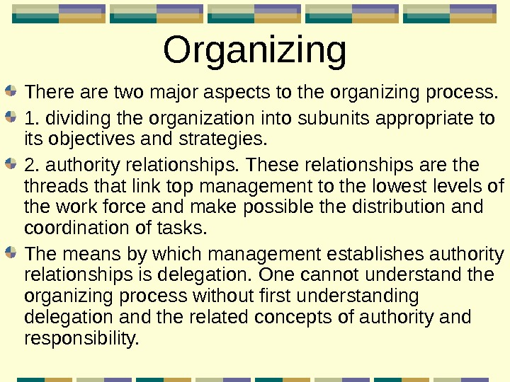 Organizing There are two major aspects to the organizing process.  1. dividing the