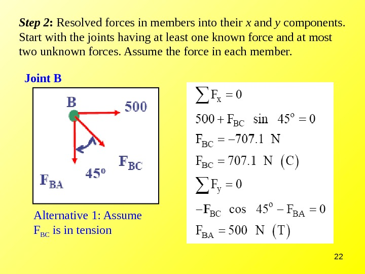 22 Step 2 :  Resolved forces in members into their x and y components.