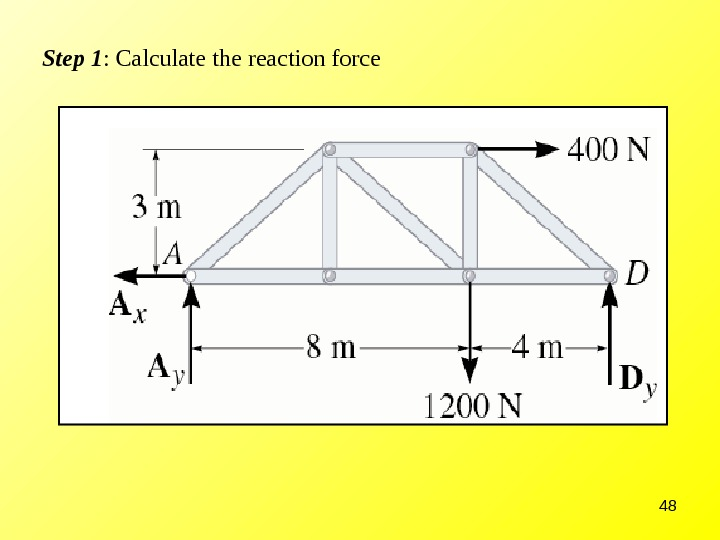 48 Step 1 : Calculate the reaction force