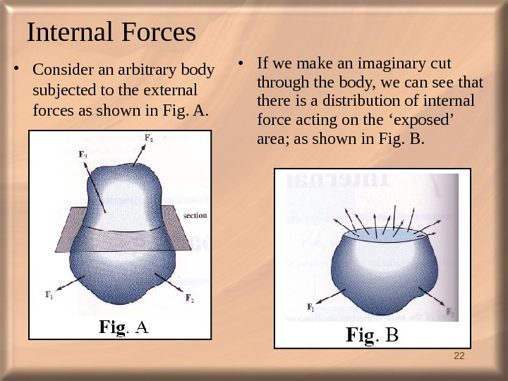 22 Internal Forces  • Consider an arbitrary body subjected to the external forces as shown
