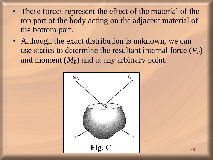 23 • These forces represent the effect of the material of the top part of the