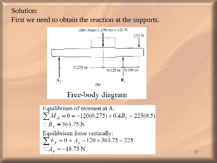 27 Solution:  First we need to obtain the reaction at the supports.