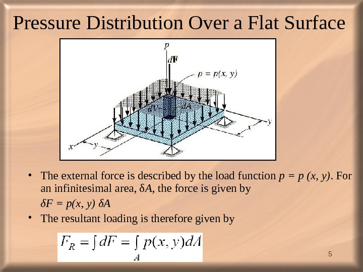 5 Pressure Distribution Over a Flat Surface  • The external force is described by the