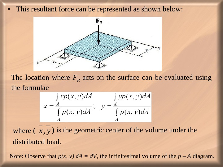6 • This resultant force can be represented as shown below:  The location where F