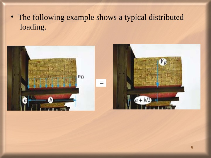 8  = • The following example shows a typical distributed loading.