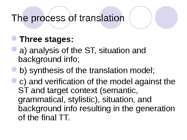 The process of translation Three stages:  a) analysis of the ST, situation and background info;