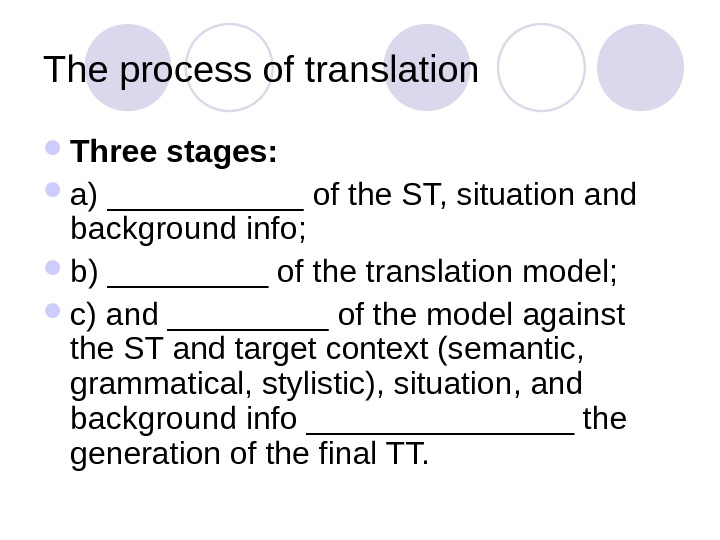 The process of translation Three stages:  a) ______ of the ST, situation and