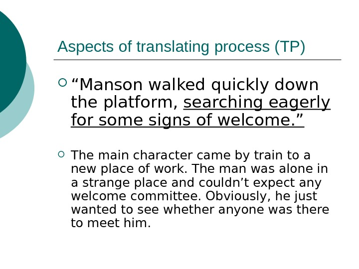 "Aspects of translating process (TP) "" Manson walked quickly down the platform,  searching"