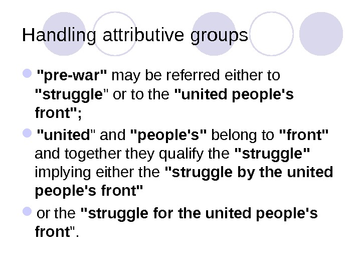Handling attributive groups pre-war may be referred either to struggle  or to the united people's