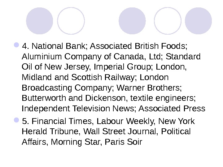 4. National Bank; Associated British Foods;  Aluminium Company of Canada, Ltd; Standard Oil of
