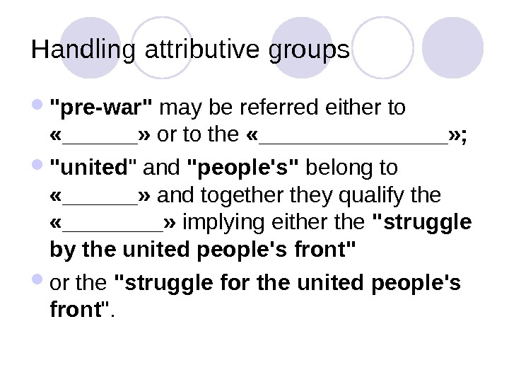Handling attributive groups pre-war may be referred either to  «______»  or to