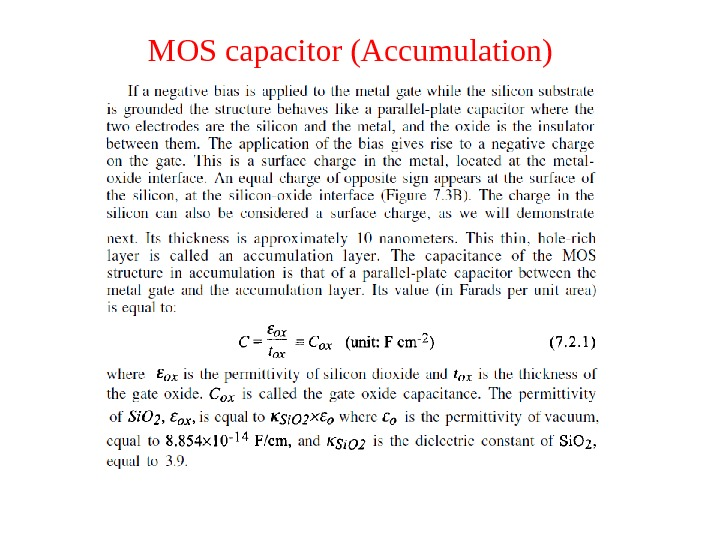 MOS capacitor (Accumulation)