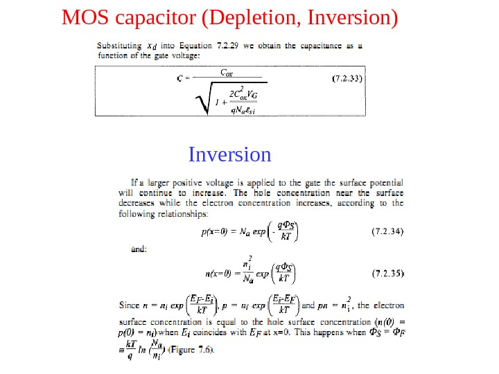 MOS capacitor (Depletion, Inversion) Inversion