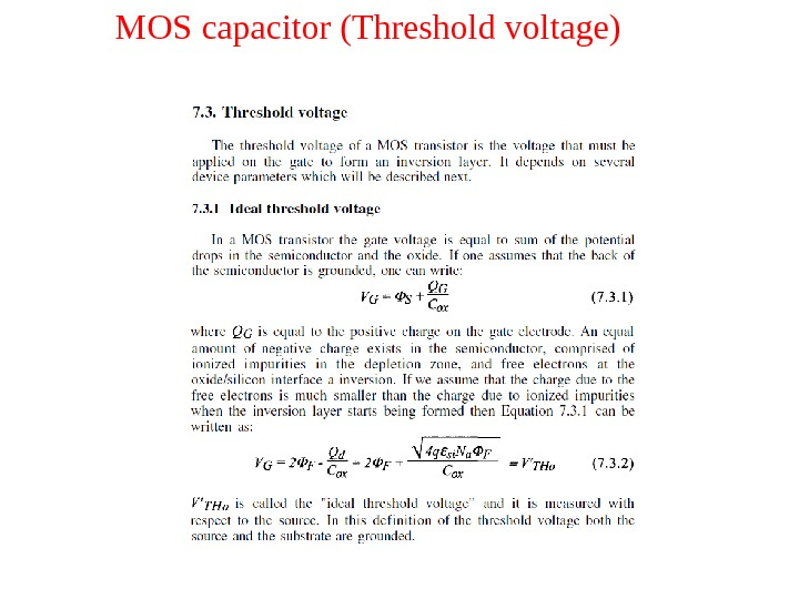 MOS capacitor (Threshold voltage)