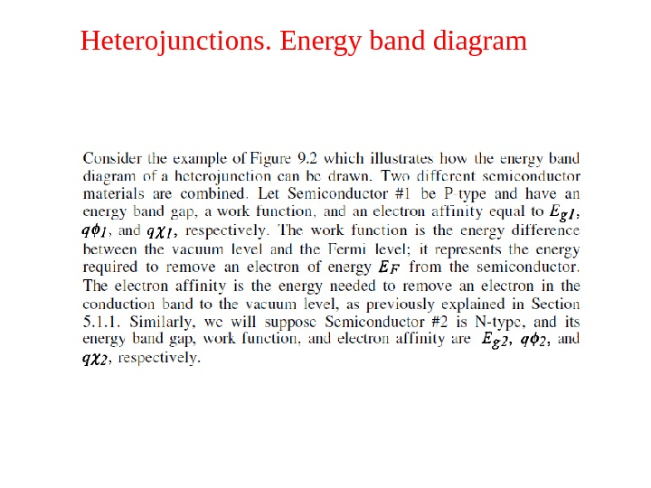 Heterojunctions. Energy band diagram