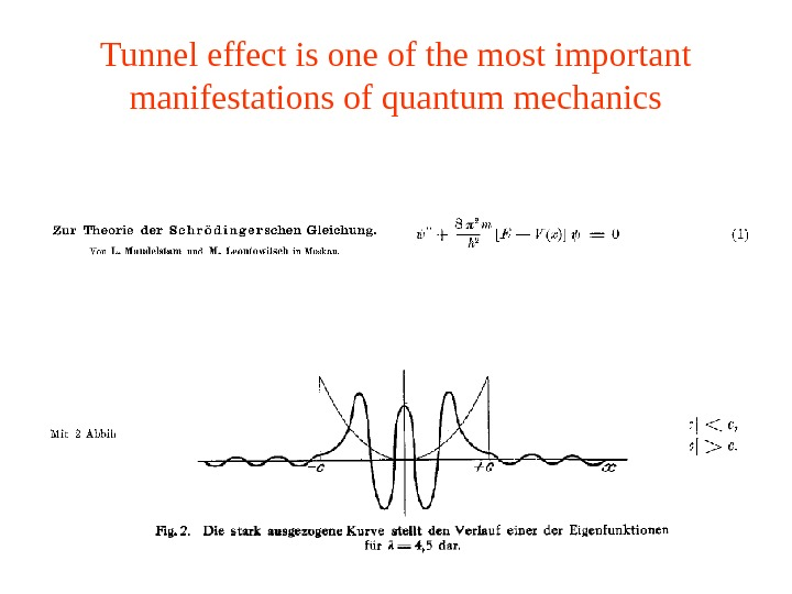 Tunnel effect is one of the most important manifestations of quantum mechanics