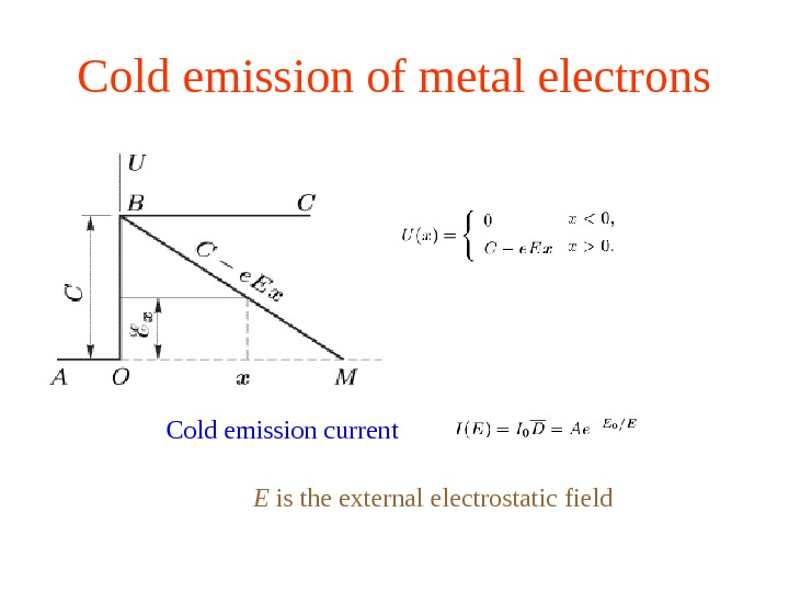 Cold emission of metal electrons Cold emission current E is the external electrostatic field