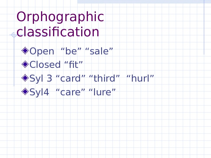 "Orphographic classification Open ""be"" ""sale"" Closed ""fit"" Syl 3 ""card"" ""third"" ""hurl""  Syl 4 ""care"""