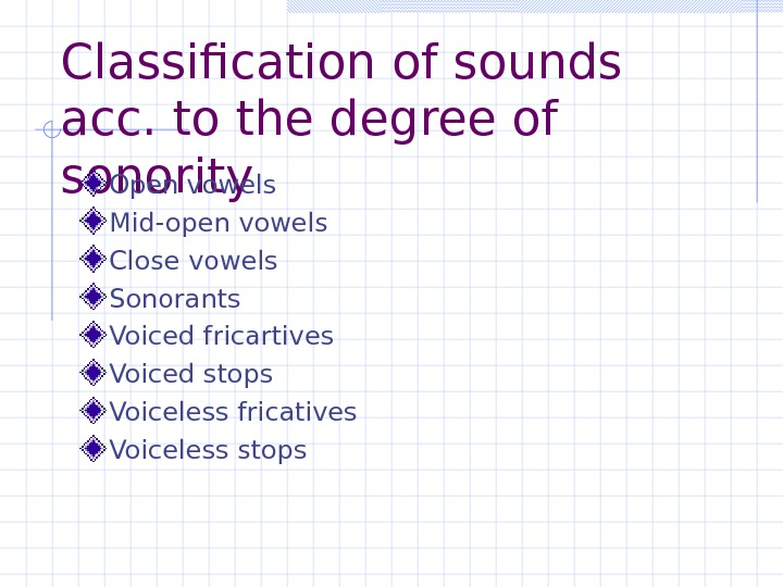 Classification of sounds acc. to the degree of sonority Open vowels Mid-open vowels Close vowels Sonorants
