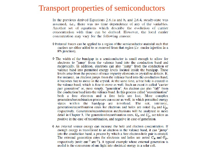 Transport properties of semiconductors