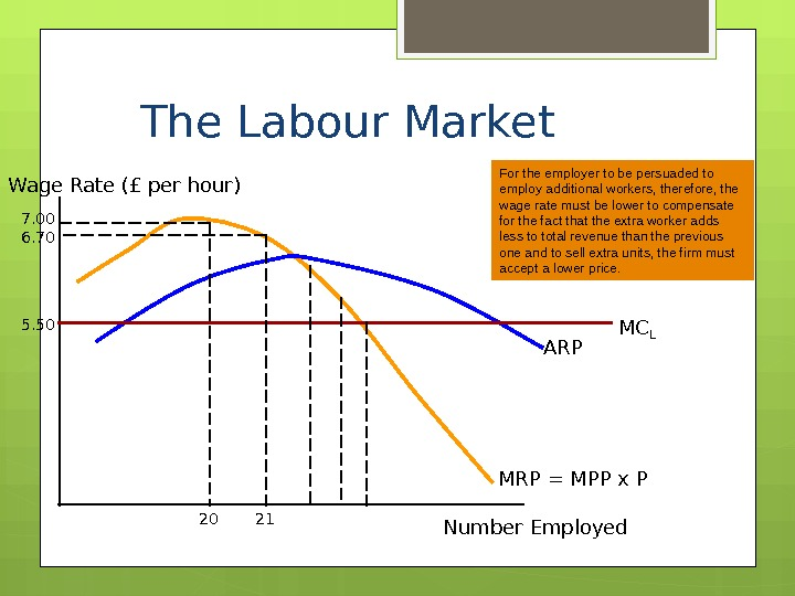 The Labour Market Wage Rate (£ per hour) Number Employed MRP = MPP x P ARPIn