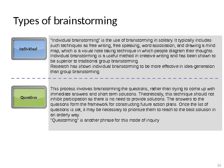 Types of brainstorming Individual Individual brainstorming is the use of brainstorming in solitary. It typically includes