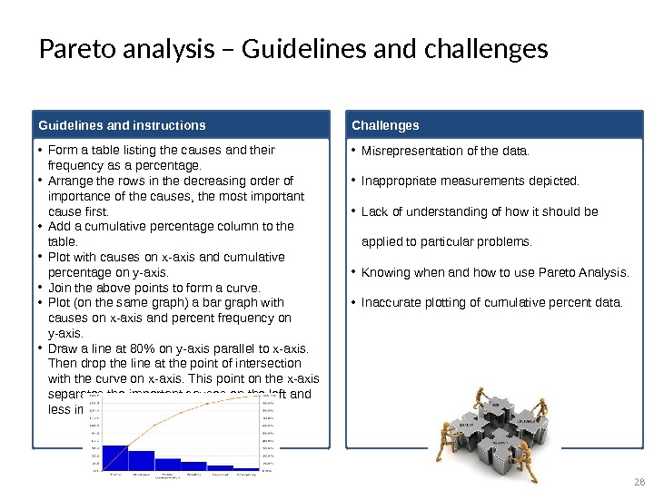 Pareto analysis – Guidelines and challenges Guidelines and instructions • Form a table listing the causes