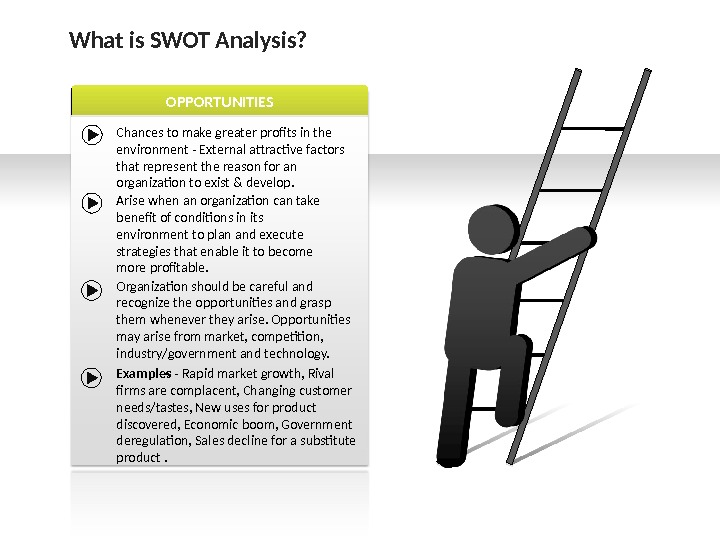 OPPORTUNITIESWhat is SWOT Analysis? Chances to make greater profits in the environment - External attractive factors