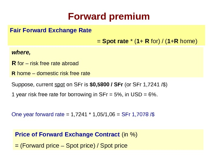 Forward premium Fair Forward Exchange Rate  = Spot rate * ( 1 +
