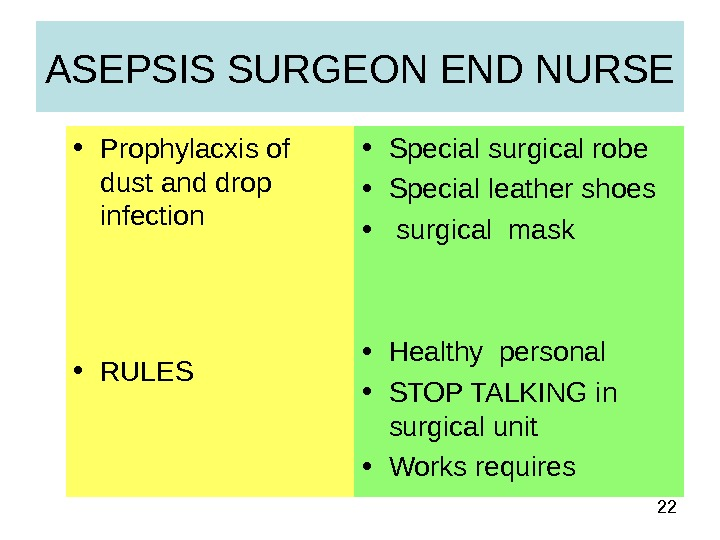 22 ASEPSIS SURGEON END NURSE • Prophylacxis of dust and drop infection