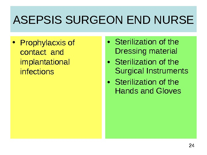 24 • Sterilization of the Dressing material • Sterilization of the Surgical Instruments • Sterilization