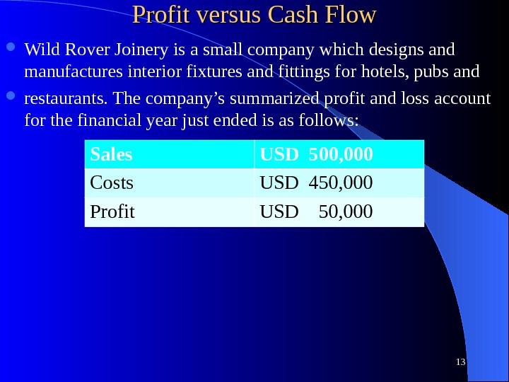 Profit versus Cash Flow Wild Rover Joinery is a small company which designs and manufactures interior