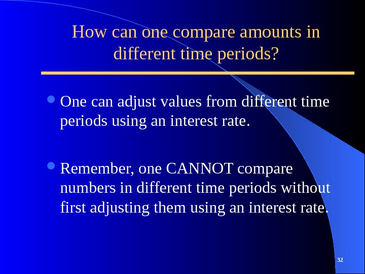 How can one compare amounts in different time periods?  One can adjust values from different