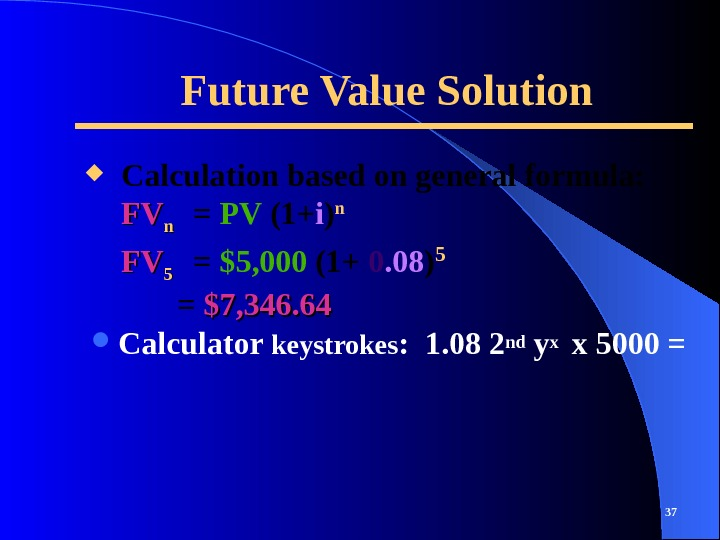 Future Value Solution Calculator keystrokes :  1. 08 2 nd yx  x 5000 =