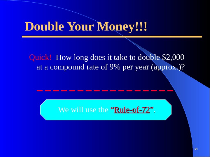 Double Your Money!!! Quick!  How long does it take to double $2, 000 at a