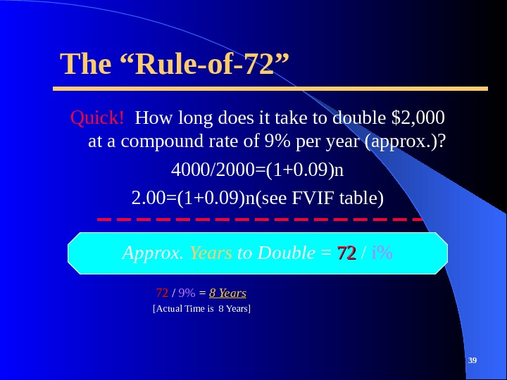 "The ""Rule-of-72"" Quick!  How long does it take to double $2, 000 at a compound"