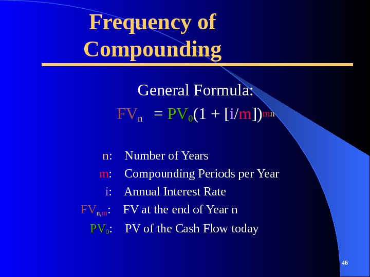 Frequency of Compounding General Formula: FVn = PVPV 00 (1 + [ i / m ])