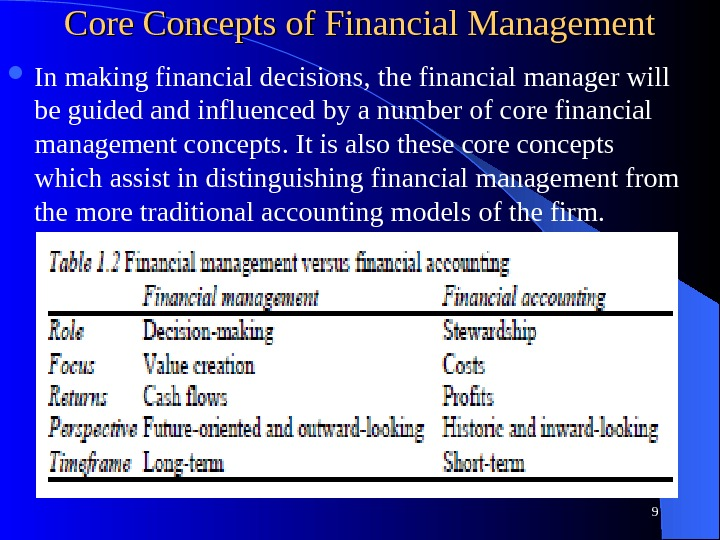 Core Concepts of Financial Management In making financial decisions, the financial manager will be guided and
