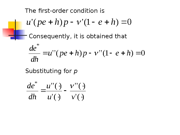 The first-order condition is 0)1(')('hephpeu Consequently, it is obtained that 0)1('')('' * hephpeu dh de Substituting