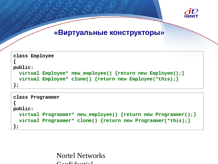 Nortel Networks Confidential «Виртуальные конструкторы» class Employee { public: virtual  Employee*  new_employee() {return new