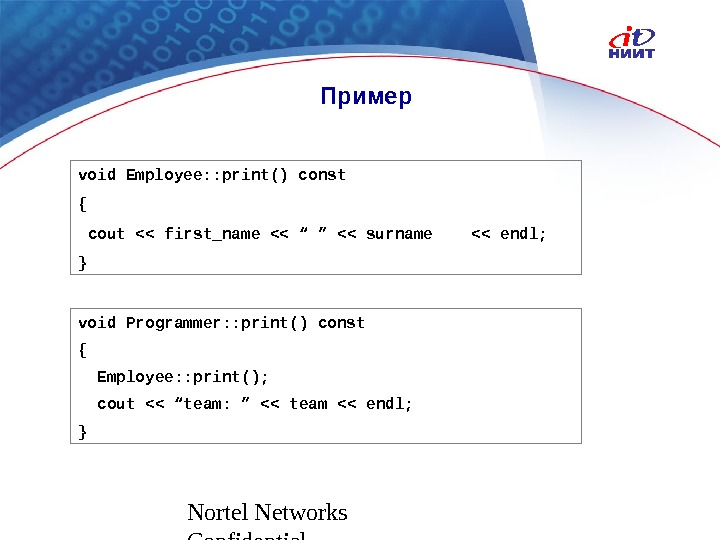 Nortel Networks Confidential Пример void Employee: : print() const {  cout  first_name  ""