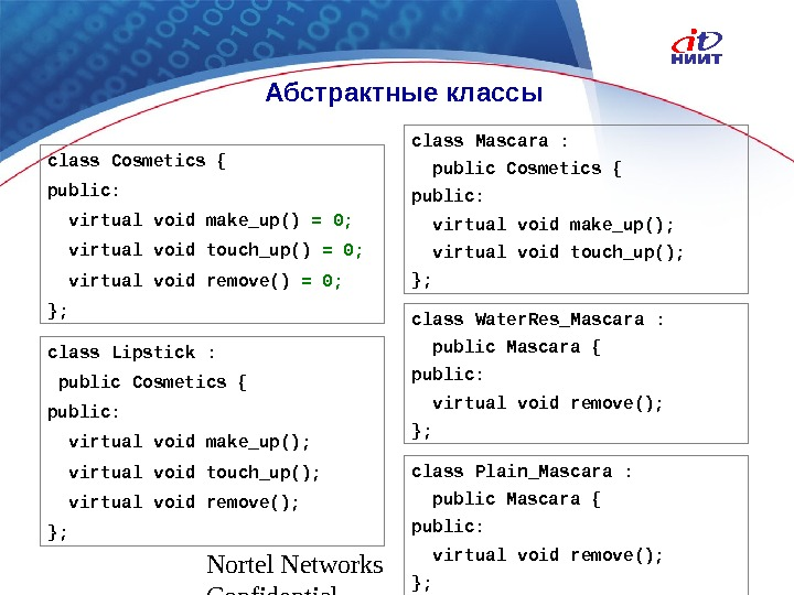 Nortel Networks Confidential Абстрактные классы class Cosmetics { public: virtual void make_up() = 0; virtual void