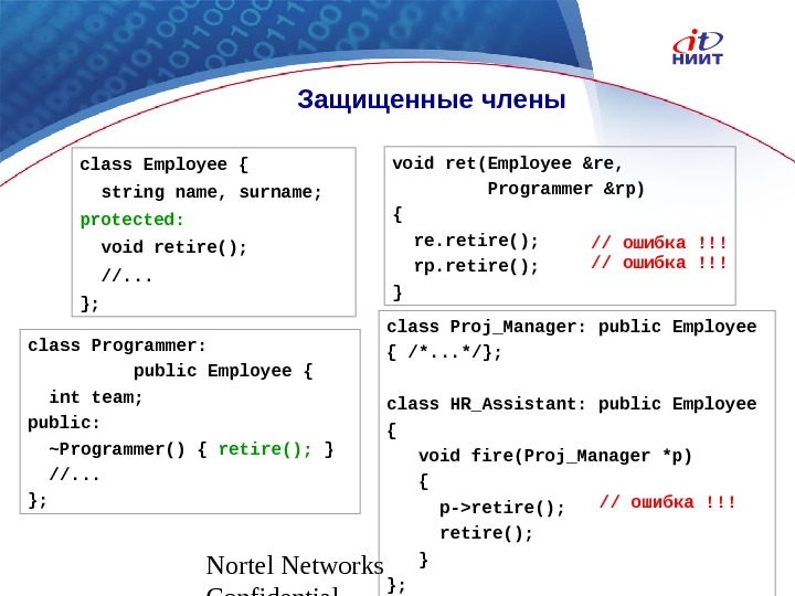 Nortel Networks Confidential Защищенные члены class Employee {  string name, surname; protected: void retire(); //.
