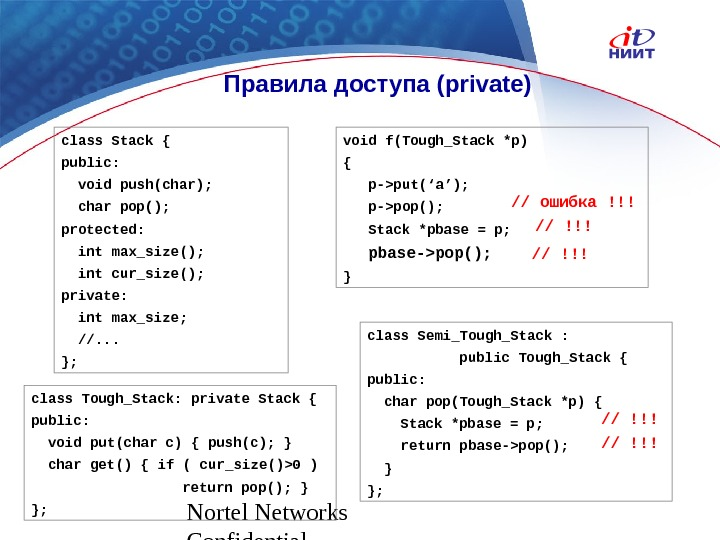 Nortel Networks Confidential Правила доступа ( private ) class Stack { public: void push(char); char pop();