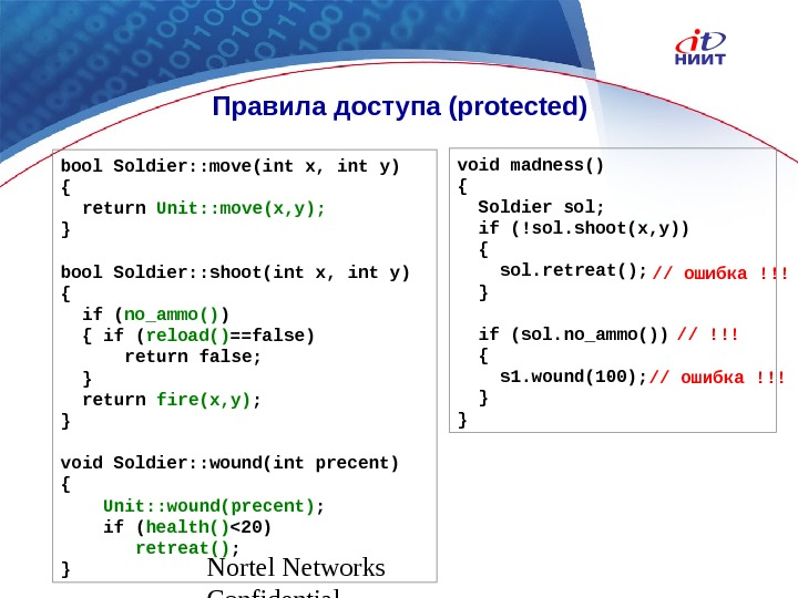 Nortel Networks Confidential Правила доступа ( protected ) bool Soldier: : move(int x, int y) {