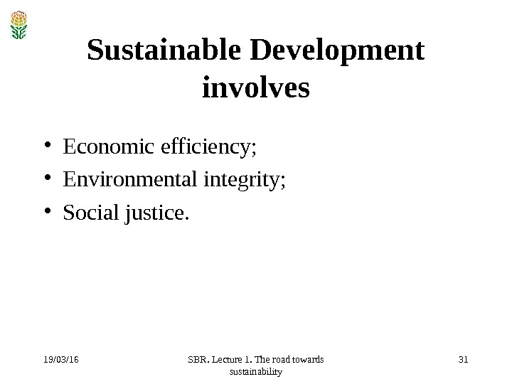 19/03/16 SBR. Lecture 1. The road towards sustainability 31 Sustainable Development involves • Economic efficiency;