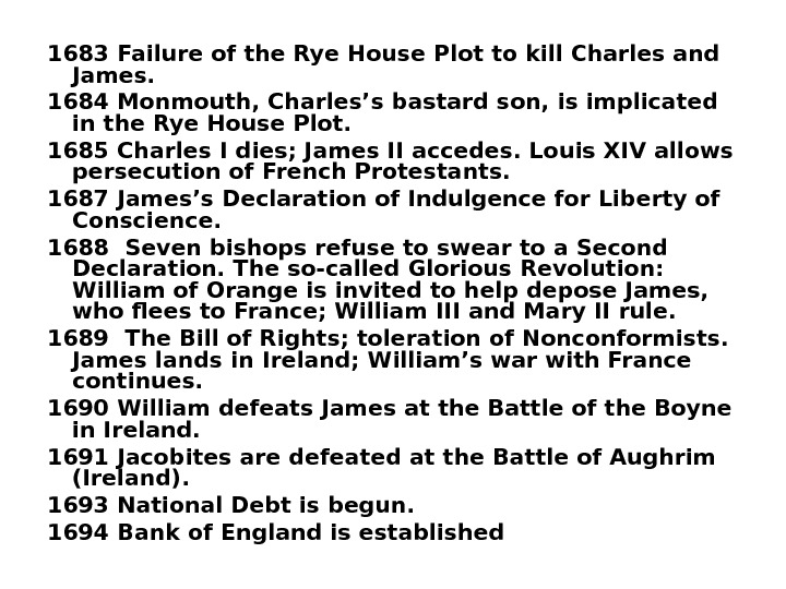 1683 Failure of the Rye House Plot to kill Charles and James.  1684