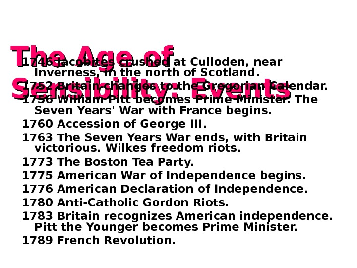 The Age of Sensibility : Events 1746 Jacobites crushed at Culloden, near Inverness, in