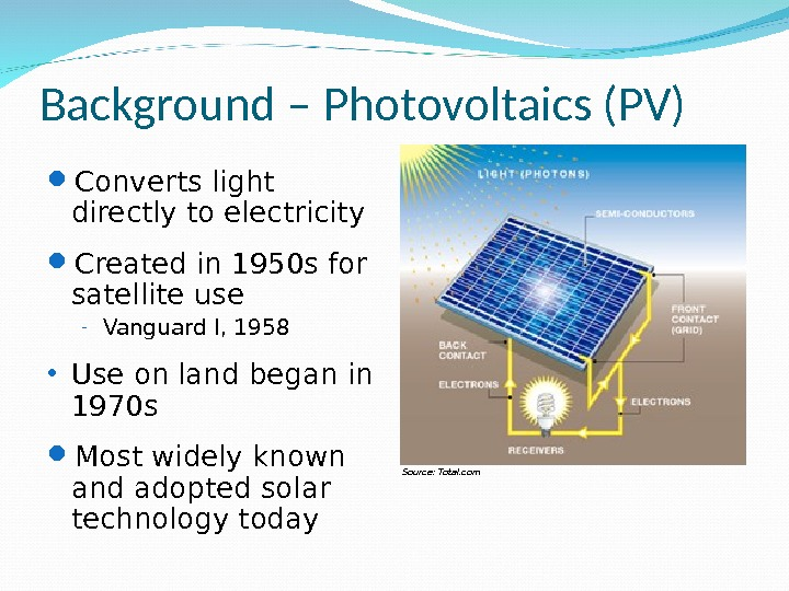 Background – Photovoltaics (PV) Converts light directly to electricity Created in 1950 s for satellite use