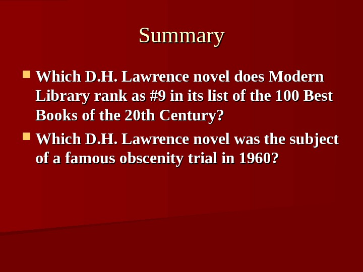 Summary Which D. H. Lawrence novel does Modern Library rank as #9 in its list of